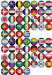 World Cup 2018 Football Flag Stickers - 70 per sheet